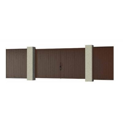 Комплект стандартных распашных ворот №1в алюминиевой раме с сэнд.пан. 4660*2200 Красно-коричневый