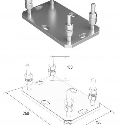 Подставка регулируемая роликовой опоры для балок 138х144х6 и 95х88х5